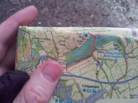 The map used, Harvey North Downs Way (West). Great map, all of the route in nice sections and waterproof.