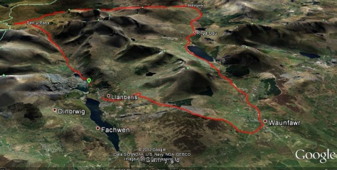 Route recorded by my Garmin, image courtesy of Google Earth