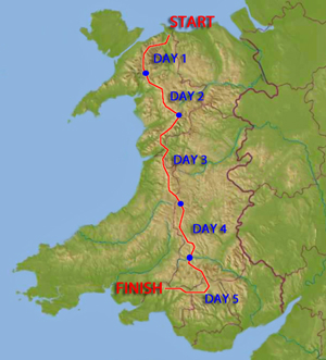 The Dragons Back Race Route across Wales