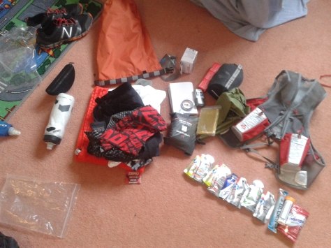 Getting my kit ready for the Trail Marathon Wales