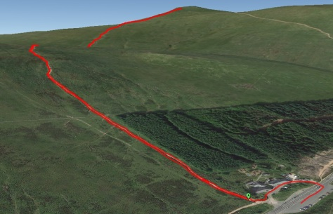 Google Earth image showing the route to Corn Du